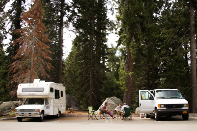 Hanging out with friends Parking lot in Sequoia NP
